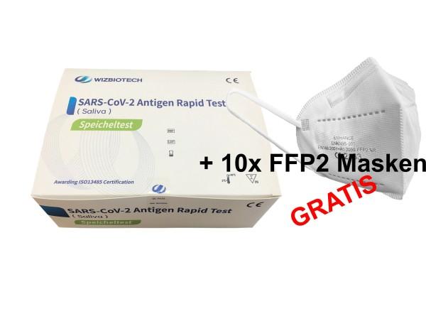 25x WIZ BIOTECH Covid-19 (Saliva) Spuck und Speichel Antigen Schnelltest + 10x FFP2 Masken GRATIS