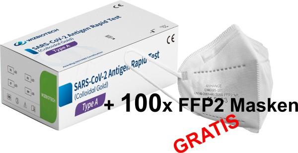100x WIZ BIOTECH Covid-19 Nasen und Rachen Antigen Schnelltest + 100x FFP2 Masken GRATIS